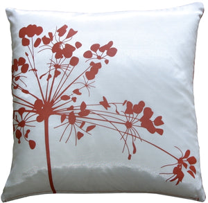 "White with Red Spring Flower 16"" Throw Pillow"
