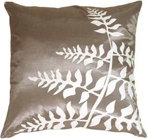 Gray with White Bold Fern Throw Pillow