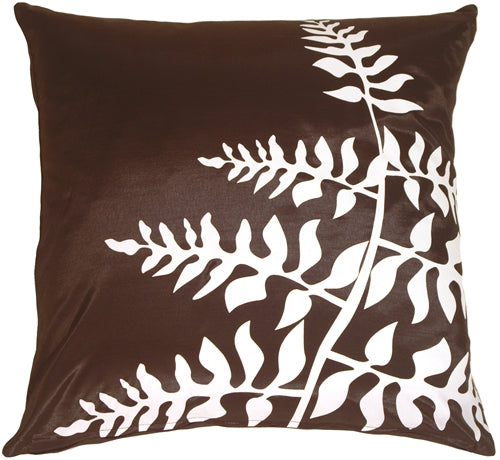 Brown with White Bold Fern Throw Pillow