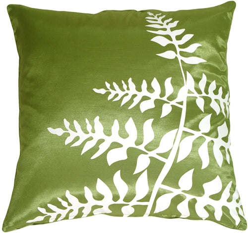 Green with White Bold Fern Throw Pillow