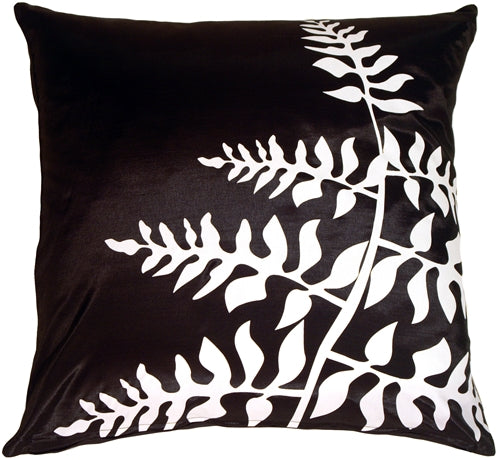 Black with White Bold Fern Throw Pillow