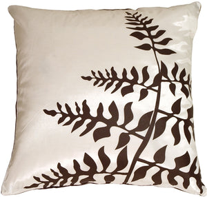 White with Brown Bold Fern Throw Pillow