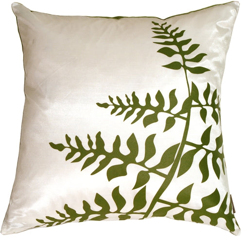 White with Green Bold Fern Throw Pillow