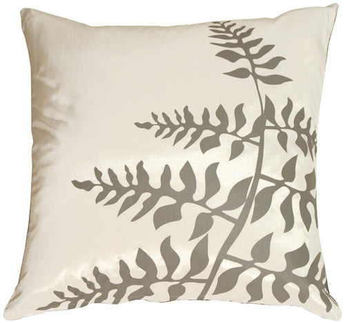 White with Gray Bold Fern Throw Pillow