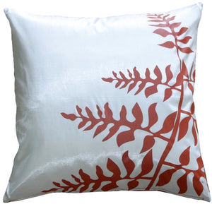 "White with Red Bold Fern 20"" Throw Pillow"