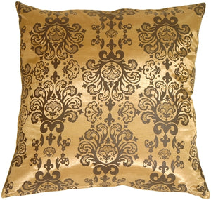 Gold with Brown Baroque Pattern Throw Pillow