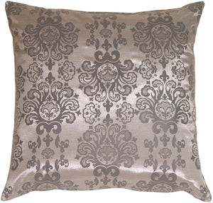 Gray with Gray Baroque Pattern Throw Pillow