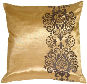 Gold with Brown Baroque Scroll Throw Pillow