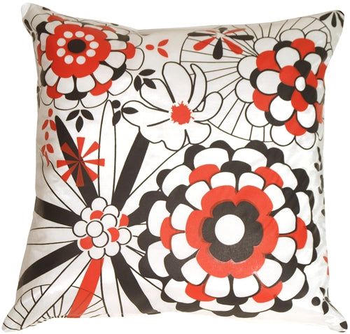 Red White Black Sunny Floral Large Throw Pillow