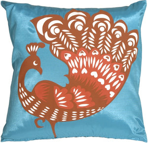 Proud Peacock Turquoise Throw Pillow