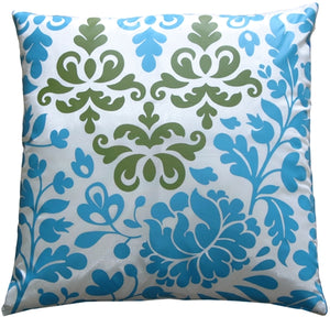 Bohemian Damask Blue, White and Olive Throw Pillow