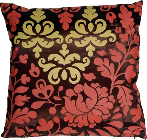 Bohemian Damask Brown, Red and Ocher Throw Pillow