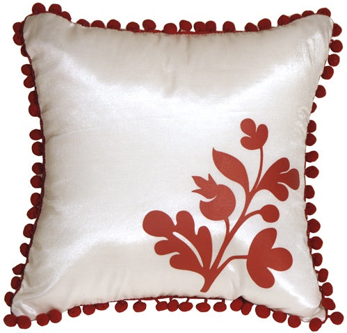 Bohemian Blossom White and Red Throw Pillow