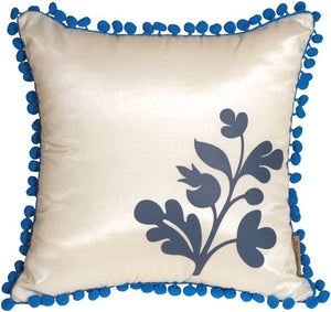 Bohemian Blossom White and Blue Throw Pillow