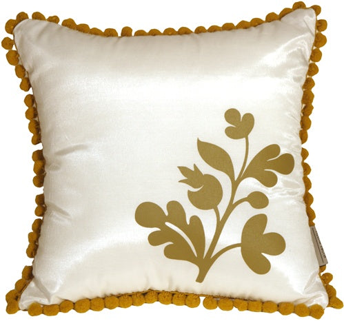 Bohemian Blossom White and Ocher Throw Pillow