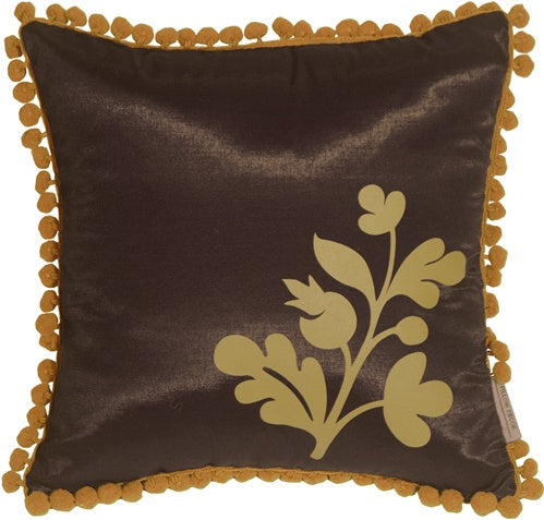 Bohemian Blossom Brown and Ocher Throw Pillow