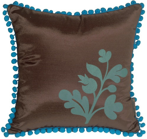 Bohemian Blossom Brown and Blue Throw Pillow