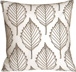 Contemporary Dark Taupe Leaf Throw Pillow
