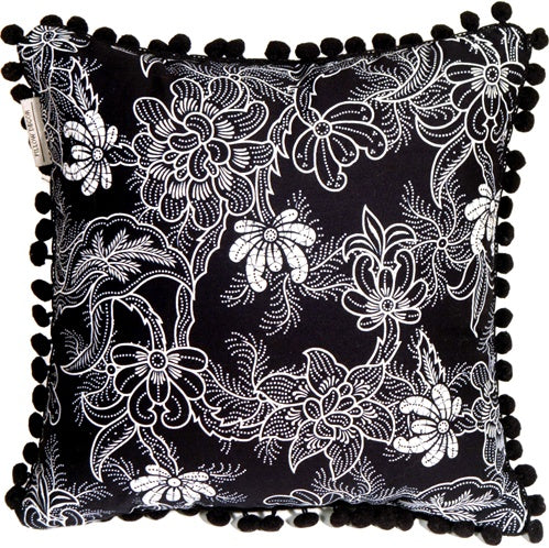Delicate Floral on Black 12x12 Throw Pillow