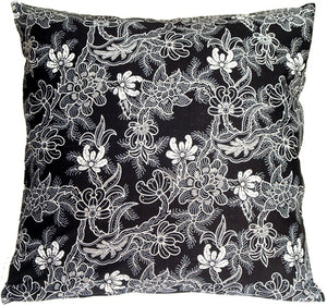 Delicate Floral on Black 20x20 Accent Pillow