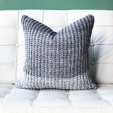 18x18 Hygge Gray Stripe Knit Pillow