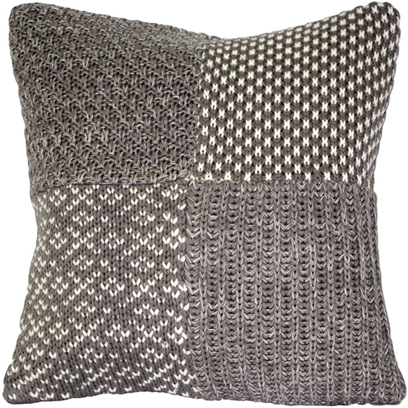 Hygge Gray Check Knit Pillow