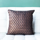 18x18 Hygge Metallic Copper Knit Pillow