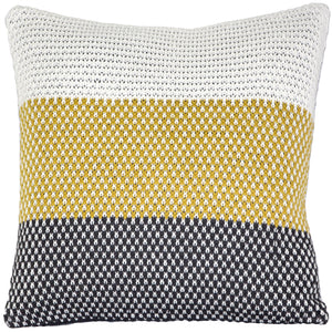Hygge Tri-Stripe Yellow Knit Pillow