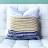 18x18 Hygge Tri-Stripe Yellow Knit Pillow