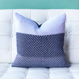 18x18 Hygge Tri-Stripe Blue Knit Pillow