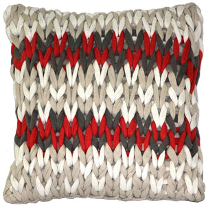 Hygge Nordic Red and Gray Chunky Knit Pillow
