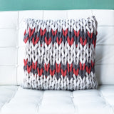 18x18 Hygge Nordic Red and Gray Chunky Knit Pillow