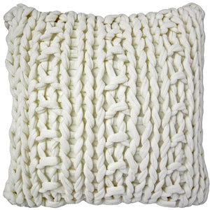 Hygge Nordic Cream Chunky Knit Pillow