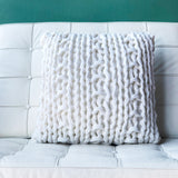 18x18 Hygge Nordic Cream Chunky Knit Pillow