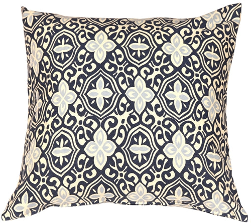 Alhambra Handprint Indigo 22X22 Throw Pillow