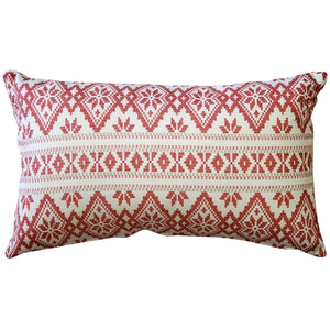 Malmo Red Diamond Throw Pillow 12x19