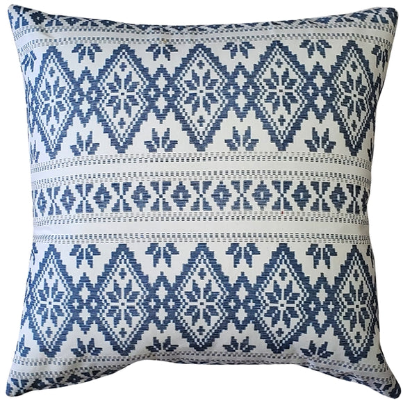 Malmo Blue Diamond Throw Pillow 17x17