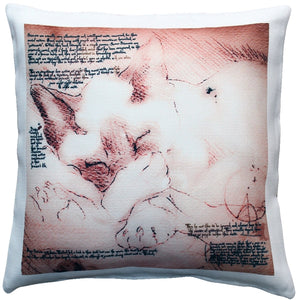 Sleeping Siamese Cat Pillow 17x17