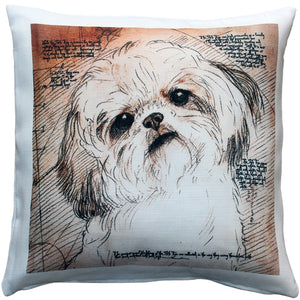 Shih Tzu Tilted Head Dog Pillow 17x17