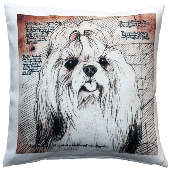 Shih Tzu Top Knot Dog Pillow 17x17