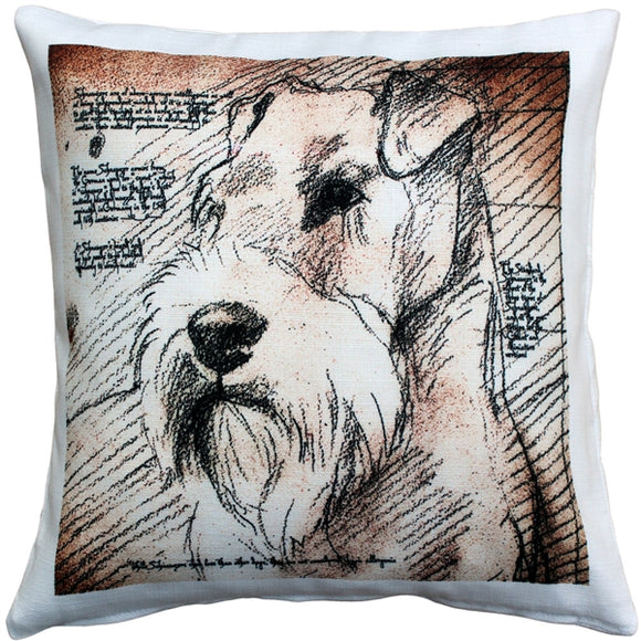 Schnauzer Looking Left Dog Pillow 17x17