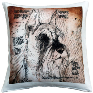 Schnauzer Cropped Ears Dog Pillow 17x17