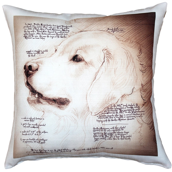 Golden Retriever Dog Pillow 17x17