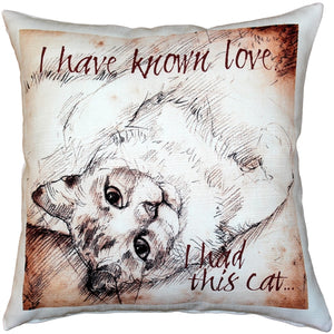 I Have Known Love Cat Pillow 17x17