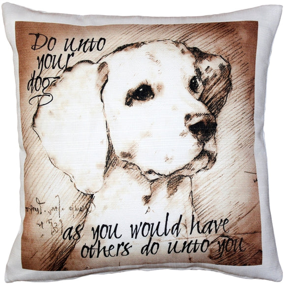 Do Unto Your Dog Throw Pillow 17x17