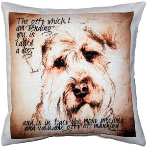 Airdale Terrier Gift to Mankind Pillow 17x17