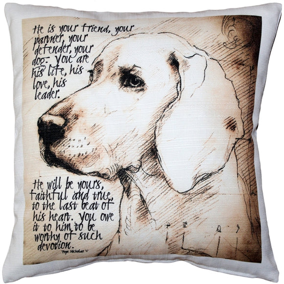 Devoted Dog Throw Pillow 17x17