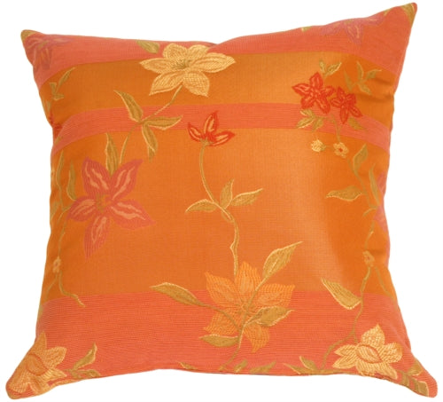 Textured Flowers in Cinnamon Orange Accent Pillow