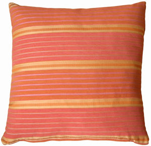Textured Stripes in Cinnamon Orange Accent Pillow