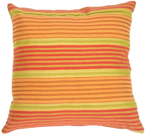 Textured Stripes in Orange, Green & Pink Accent Pillow